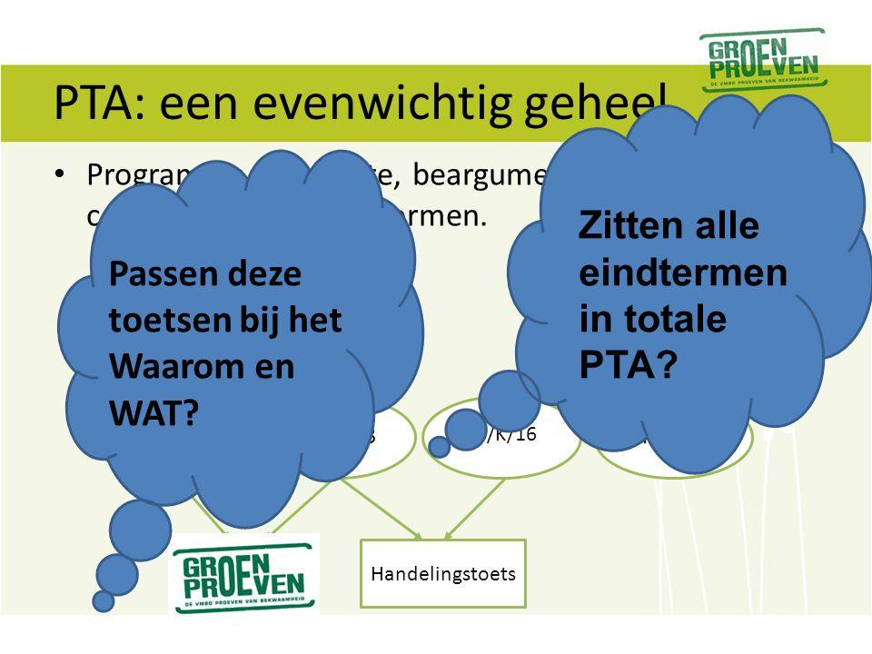 PTA: een evenwichtig geheel Programma = bewuste, beargumenteerde combinatie van toetsvormen. LB/K/2LB/K/3 LB/K/16 Enzovoort.. Handelingstoets Zitten a