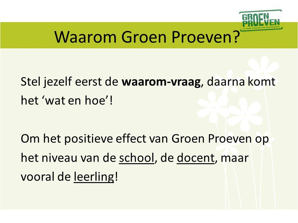 Waarom Groen Proeven? Stel jezelf eerst de waarom-vraag, daarna komt het 'wat en hoe'! Om het positieve effect van Groen Proeven op het niveau van de