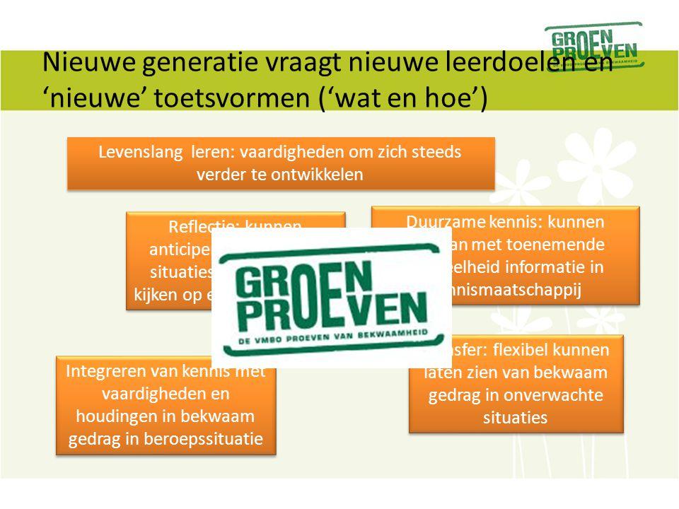 Essentie van de Groen Proeven PvB In een realistische praktische context competent gedrag 'uitlokken'.