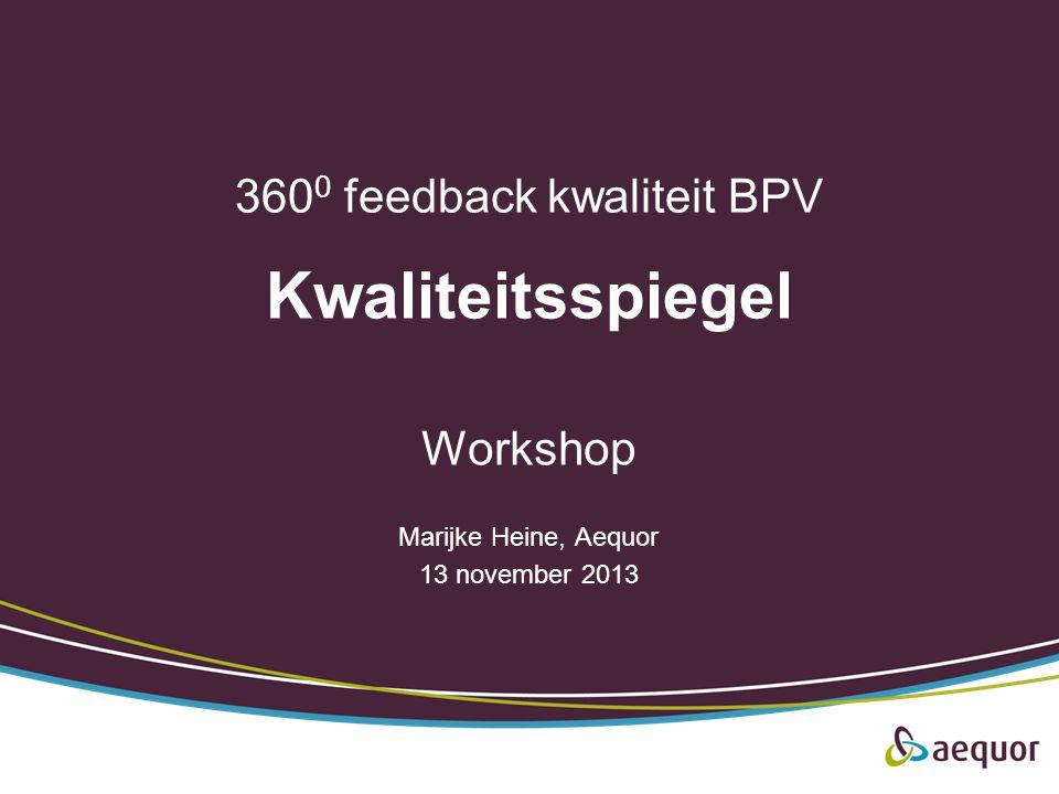 360 0 feedback kwaliteit BPV Kwaliteitsspiegel Workshop Marijke Heine, Aequor 13 november 2013