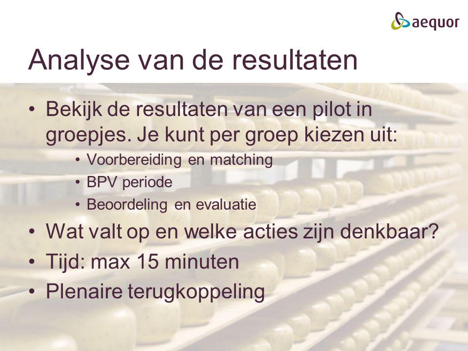 Analyse van de resultaten Bekijk de resultaten van een pilot in groepjes. Je kunt per groep kiezen uit: Voorbereiding en matching BPV periode Beoordel
