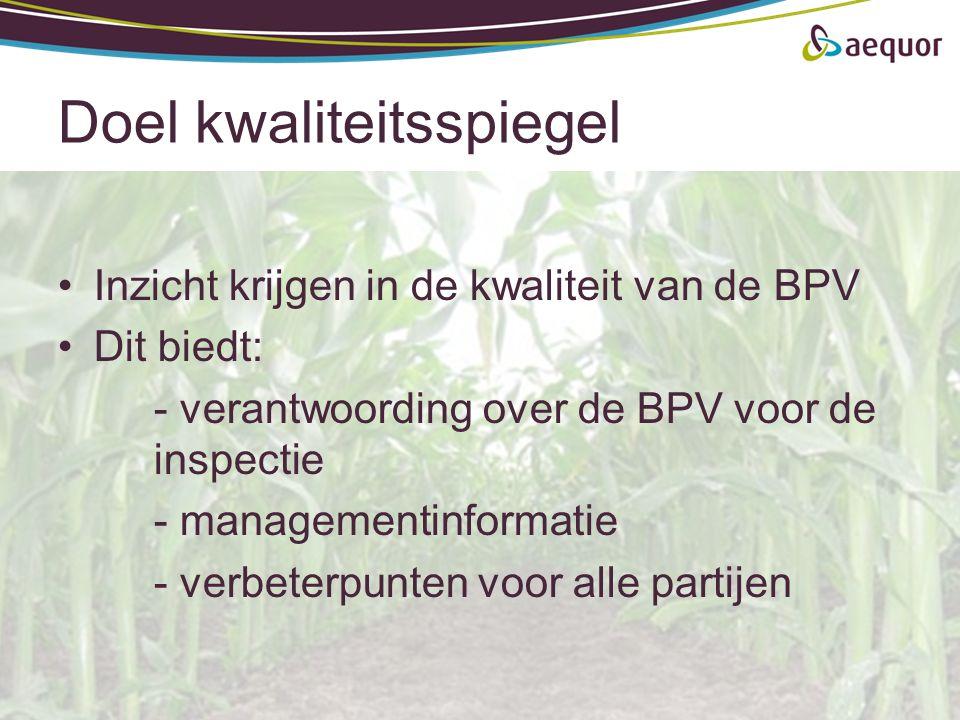 Doel kwaliteitsspiegel Inzicht krijgen in de kwaliteit van de BPV Dit biedt: - verantwoording over de BPV voor de inspectie - managementinformatie - v