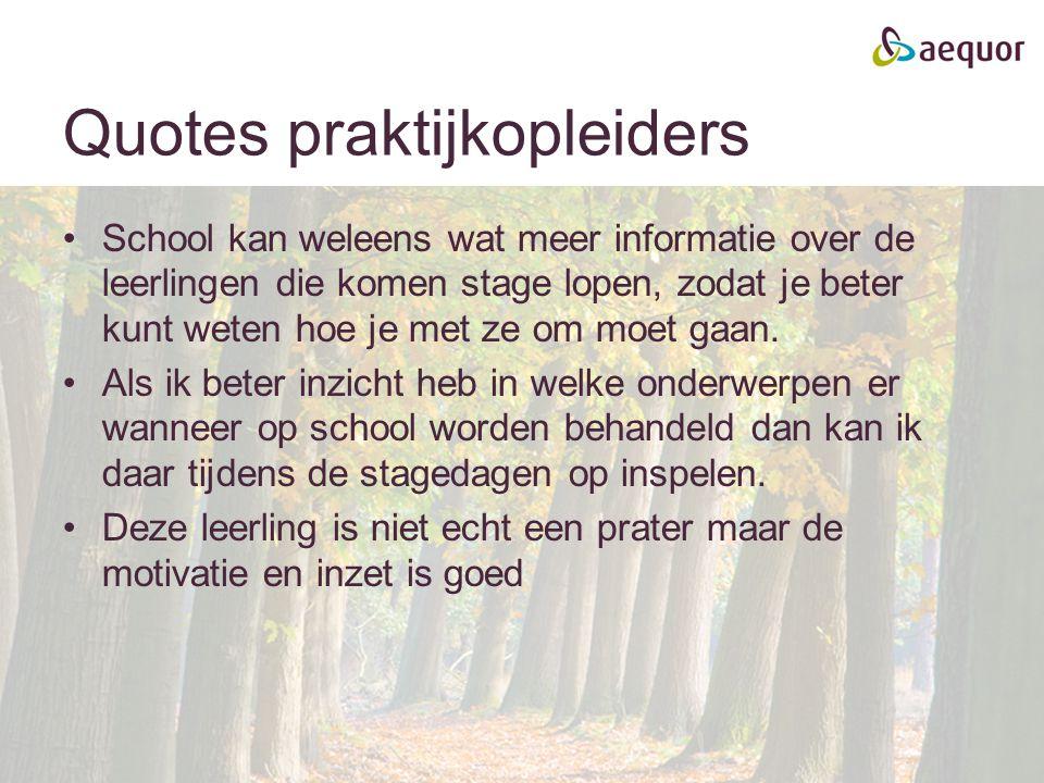 Quotes praktijkopleiders School kan weleens wat meer informatie over de leerlingen die komen stage lopen, zodat je beter kunt weten hoe je met ze om m