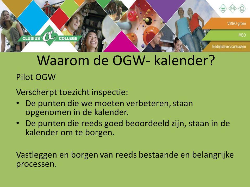 Waarom de OGW- kalender? Pilot OGW Verscherpt toezicht inspectie: De punten die we moeten verbeteren, staan opgenomen in de kalender. De punten die re