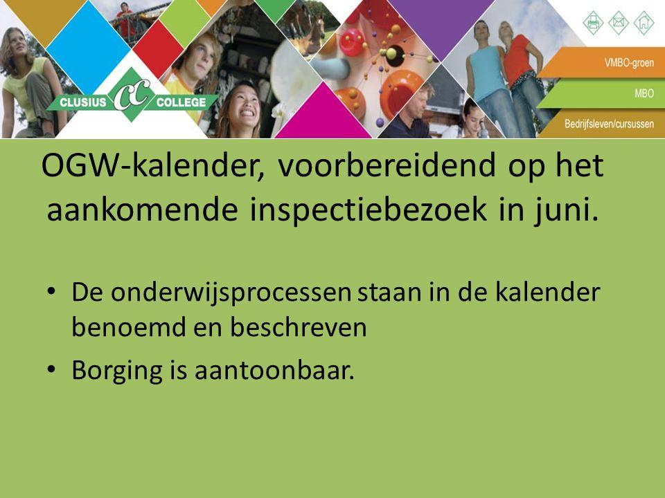 OGW-kalender, voorbereidend op het aankomende inspectiebezoek in juni. De onderwijsprocessen staan in de kalender benoemd en beschreven Borging is aan