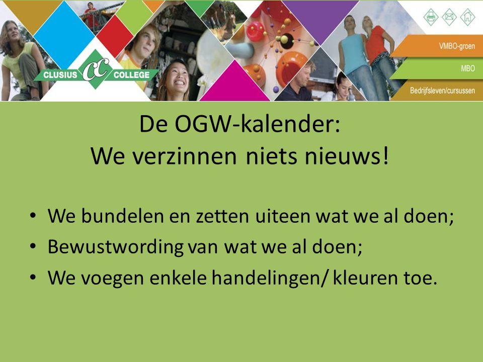De OGW-kalender: We verzinnen niets nieuws! We bundelen en zetten uiteen wat we al doen; Bewustwording van wat we al doen; We voegen enkele handelinge