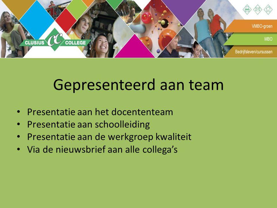 Gepresenteerd aan team Presentatie aan het docententeam Presentatie aan schoolleiding Presentatie aan de werkgroep kwaliteit Via de nieuwsbrief aan al