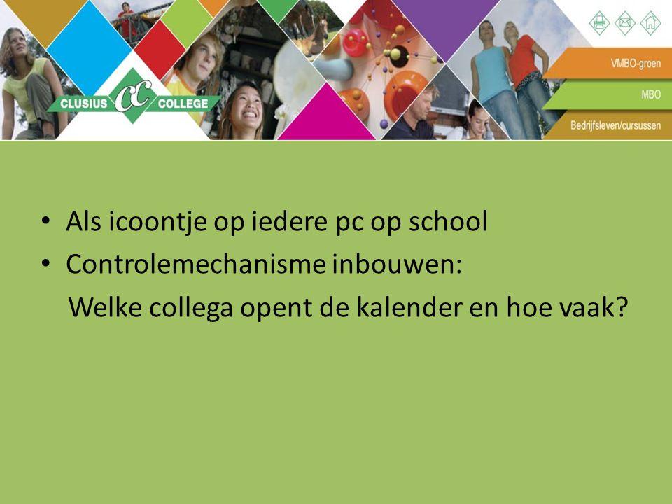 Als icoontje op iedere pc op school Controlemechanisme inbouwen: Welke collega opent de kalender en hoe vaak?