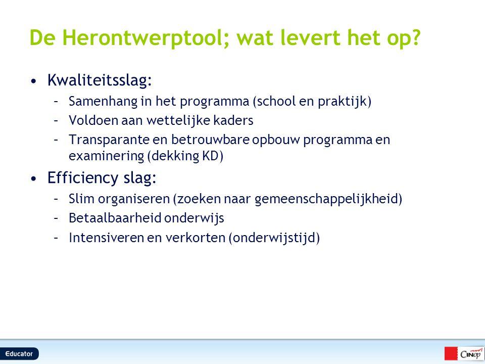De Herontwerptool; wat levert het op? Kwaliteitsslag: –Samenhang in het programma (school en praktijk) –Voldoen aan wettelijke kaders –Transparante en
