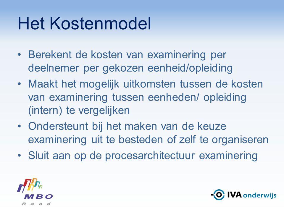 Het Kostenmodel Berekent de kosten van examinering per deelnemer per gekozen eenheid/opleiding Maakt het mogelijk uitkomsten tussen de kosten van exam