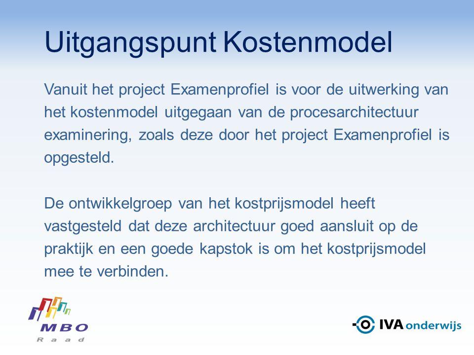 Uitgangspunt Kostenmodel Vanuit het project Examenprofiel is voor de uitwerking van het kostenmodel uitgegaan van de procesarchitectuur examinering, zoals deze door het project Examenprofiel is opgesteld.