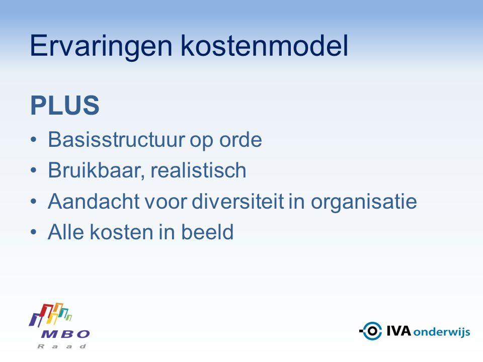 Ervaringen kostenmodel PLUS Basisstructuur op orde Bruikbaar, realistisch Aandacht voor diversiteit in organisatie Alle kosten in beeld