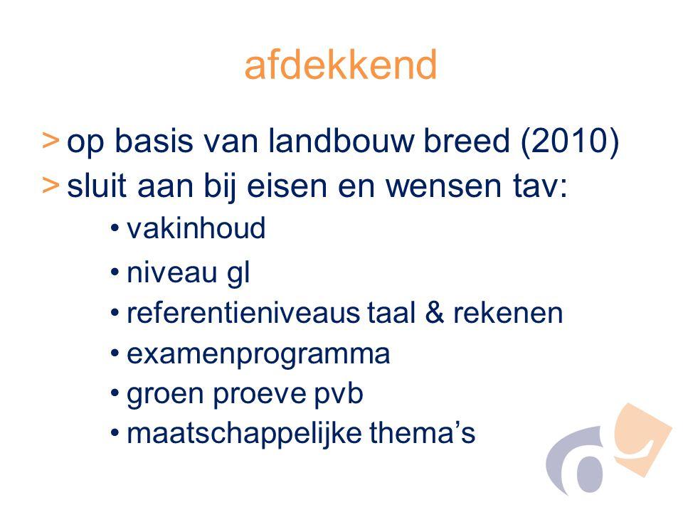 afdekkend >op basis van landbouw breed (2010) >sluit aan bij eisen en wensen tav: vakinhoud niveau gl referentieniveaus taal & rekenen examenprogramma groen proeve pvb maatschappelijke thema's