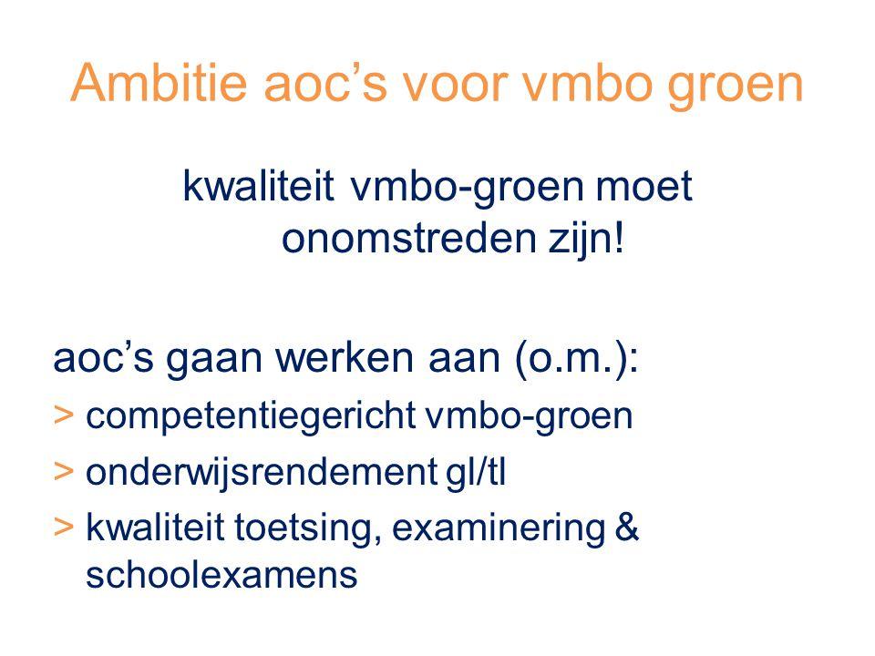 Ambitie aoc's voor vmbo groen kwaliteit vmbo-groen moet onomstreden zijn.