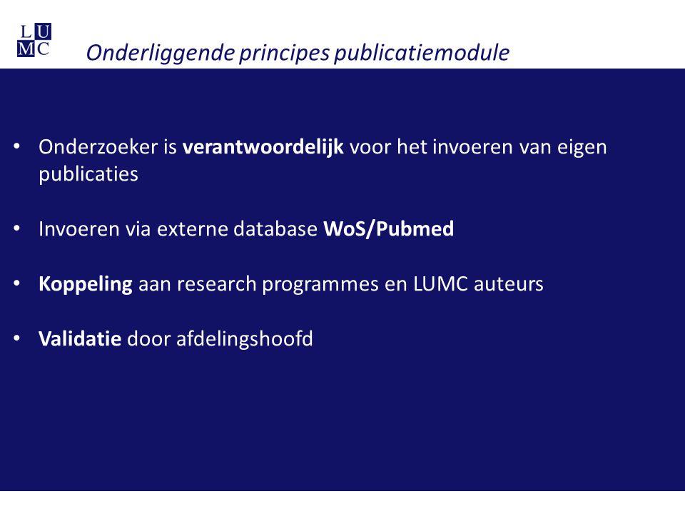 Onderliggende principes publicatiemodule Onderzoeker is verantwoordelijk voor het invoeren van eigen publicaties Invoeren via externe database WoS/Pub