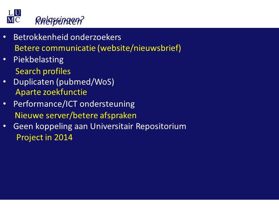 Knelpunten Betrokkenheid onderzoekers Piekbelasting Duplicaten (pubmed/WoS) Performance/ICT ondersteuning Geen koppeling aan Universitair Repositorium