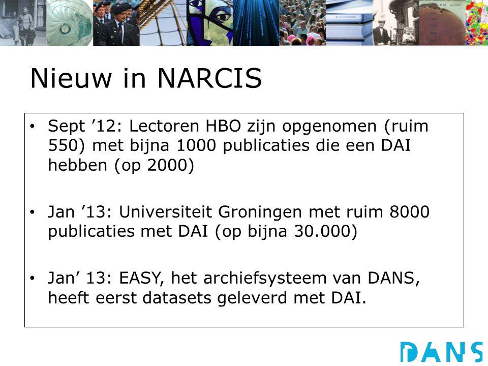 Nieuw in NARCIS Sept '12: Lectoren HBO zijn opgenomen (ruim 550) met bijna 1000 publicaties die een DAI hebben (op 2000) Jan '13: Universiteit Groningen met ruim 8000 publicaties met DAI (op bijna 30.000) Jan' 13: EASY, het archiefsysteem van DANS, heeft eerst datasets geleverd met DAI.