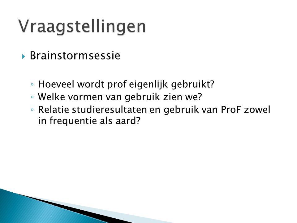  Brainstormsessie ◦ Hoeveel wordt prof eigenlijk gebruikt.