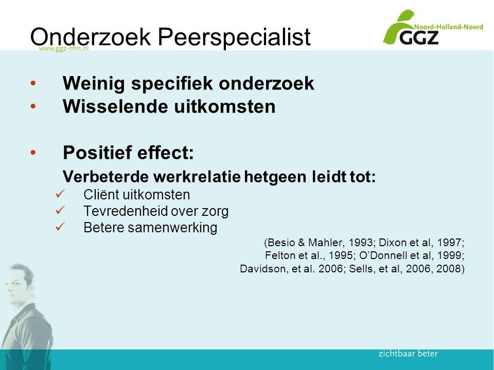 Onderzoek Peerspecialist Weinig specifiek onderzoek Wisselende uitkomsten Positief effect: Verbeterde werkrelatie hetgeen leidt tot: Cliënt uitkomsten