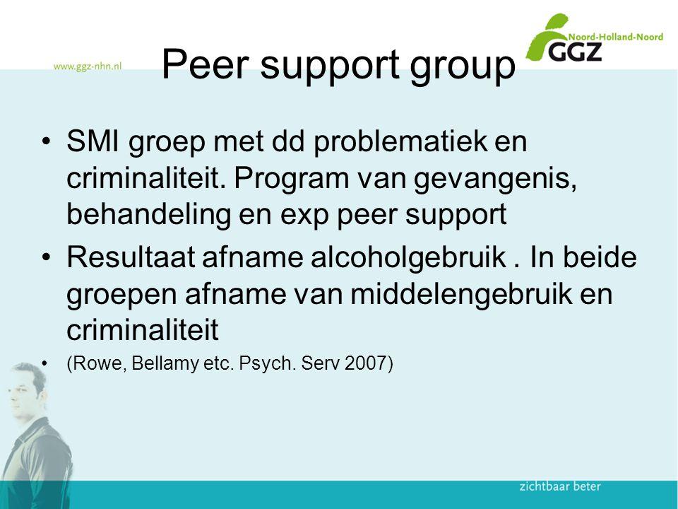 Peer support group SMI groep met dd problematiek en criminaliteit. Program van gevangenis, behandeling en exp peer support Resultaat afname alcoholgeb