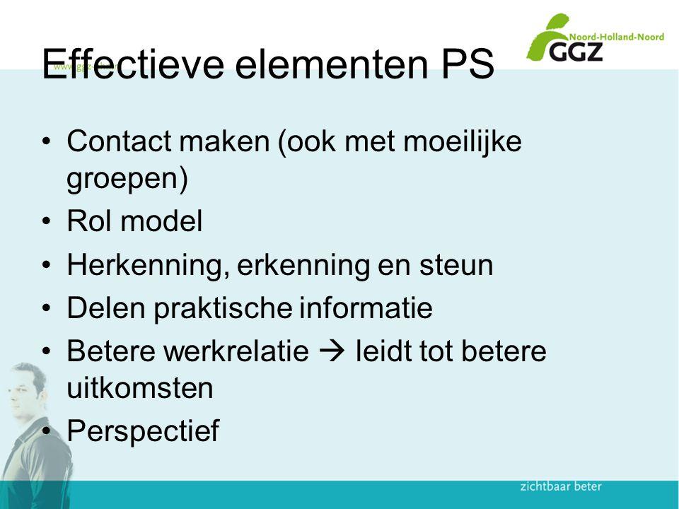 Effectieve elementen PS Contact maken (ook met moeilijke groepen) Rol model Herkenning, erkenning en steun Delen praktische informatie Betere werkrelatie  leidt tot betere uitkomsten Perspectief