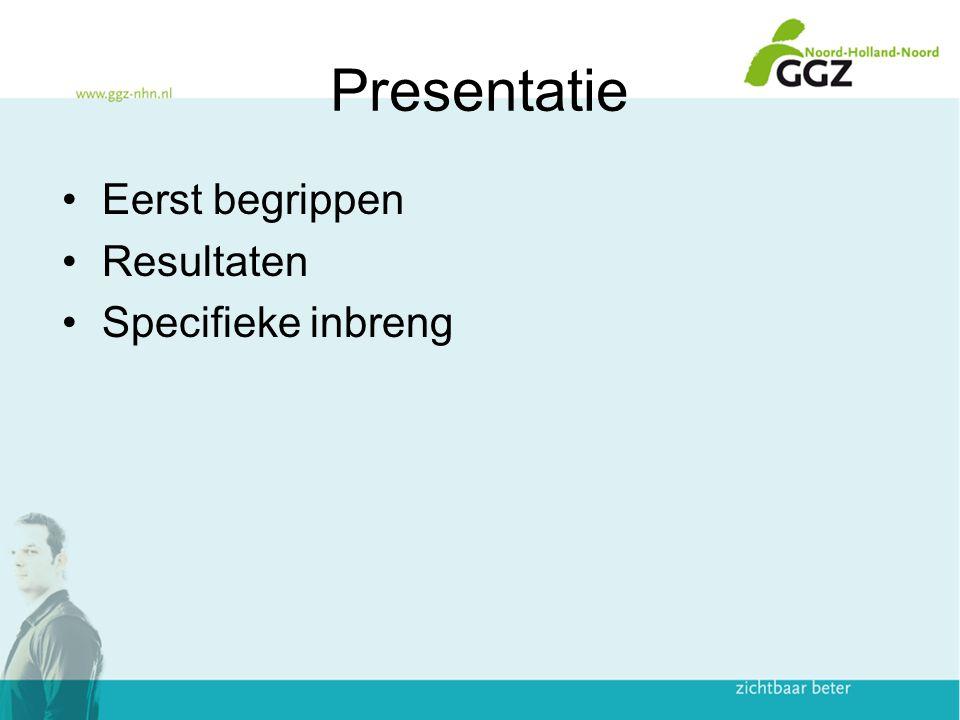 Presentatie Eerst begrippen Resultaten Specifieke inbreng