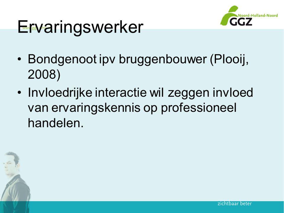 Ervaringswerker Bondgenoot ipv bruggenbouwer (Plooij, 2008) Invloedrijke interactie wil zeggen invloed van ervaringskennis op professioneel handelen.
