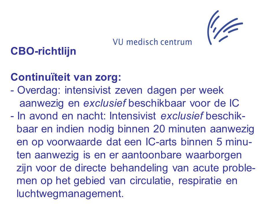 CBO-richtlijn Continuïteit van zorg: - Overdag: intensivist zeven dagen per week aanwezig en exclusief beschikbaar voor de IC - In avond en nacht: Int