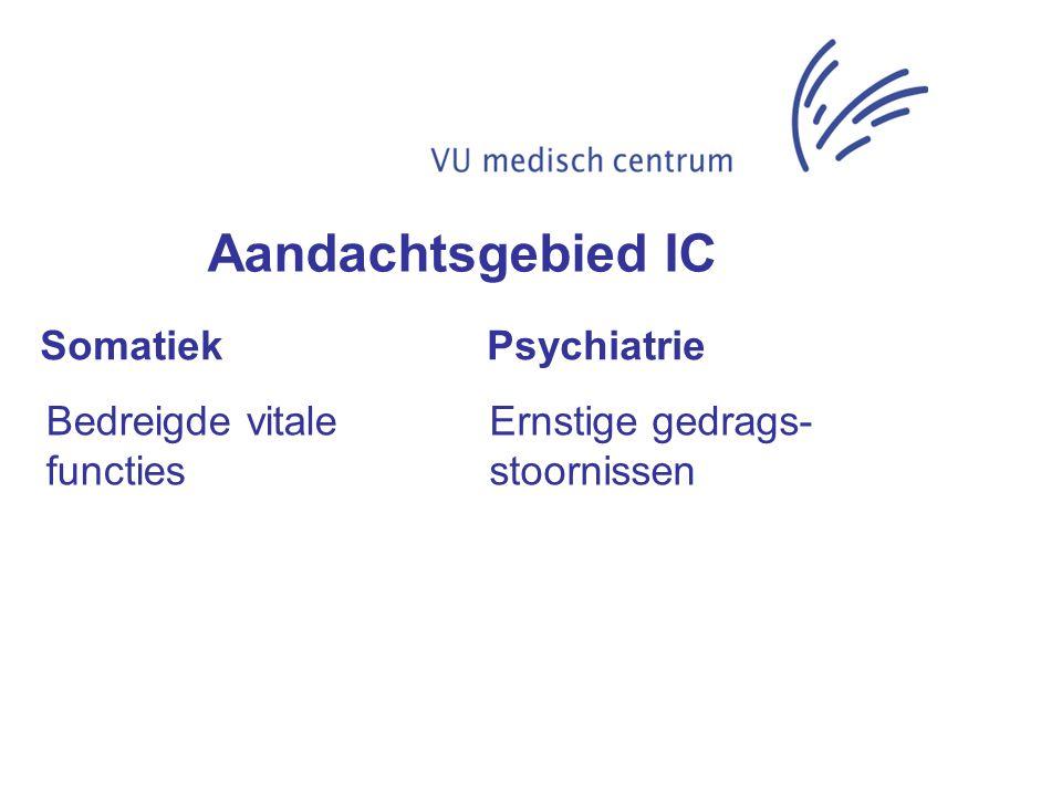 Somatiek Psychiatrie Bedreigde vitale functies Ernstige gedrags- stoornissen Aandachtsgebied IC