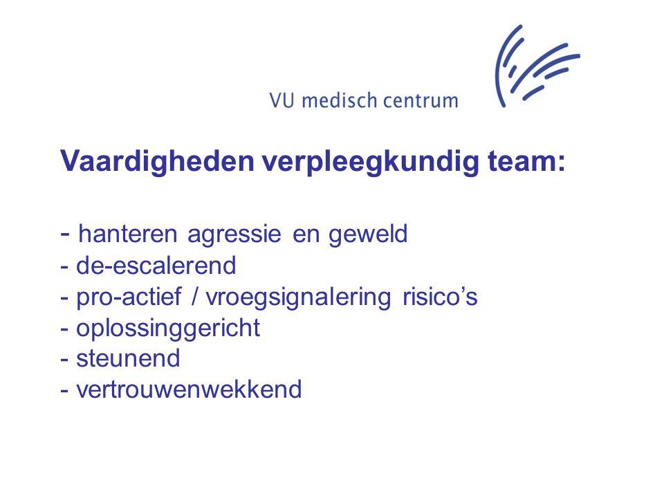 Vaardigheden verpleegkundig team: - hanteren agressie en geweld - de-escalerend - pro-actief / vroegsignalering risico's - oplossinggericht - steunend