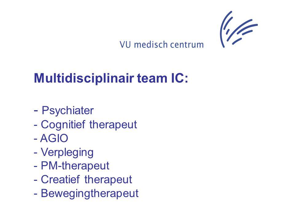 Multidisciplinair team IC: - Psychiater - Cognitief therapeut - AGIO - Verpleging - PM-therapeut - Creatief therapeut - Bewegingtherapeut