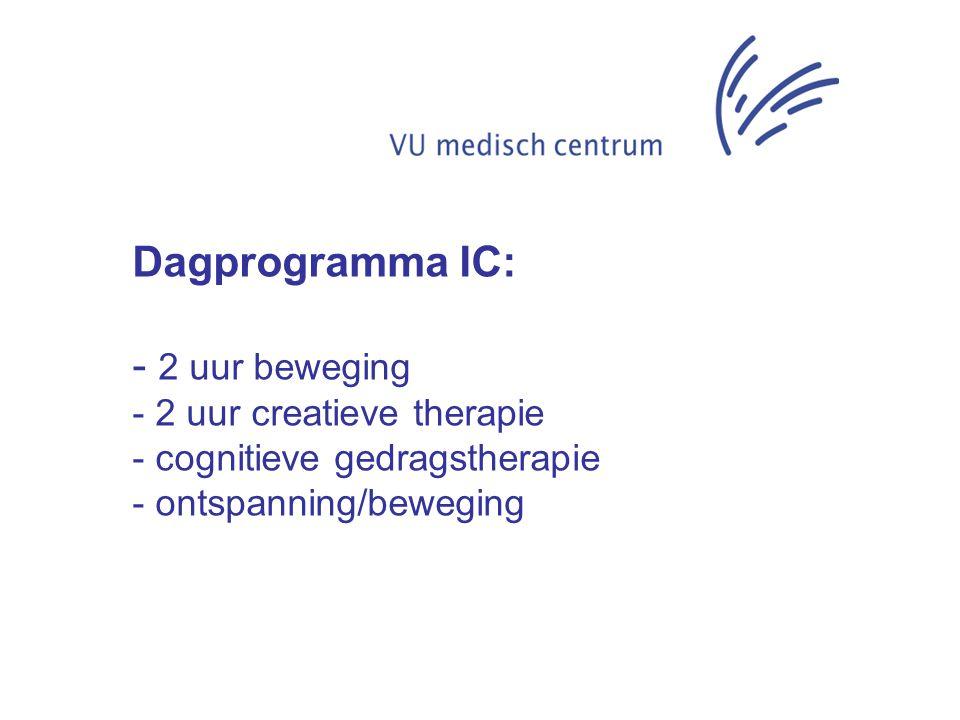 Dagprogramma IC: - 2 uur beweging - 2 uur creatieve therapie - cognitieve gedragstherapie - ontspanning/beweging