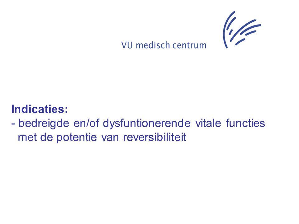 Indicaties: - bedreigde en/of dysfuntionerende vitale functies met de potentie van reversibiliteit - bedreigde bovenste luchtwegen waarvoor niet allereerst een OK-indicatie bestaat.