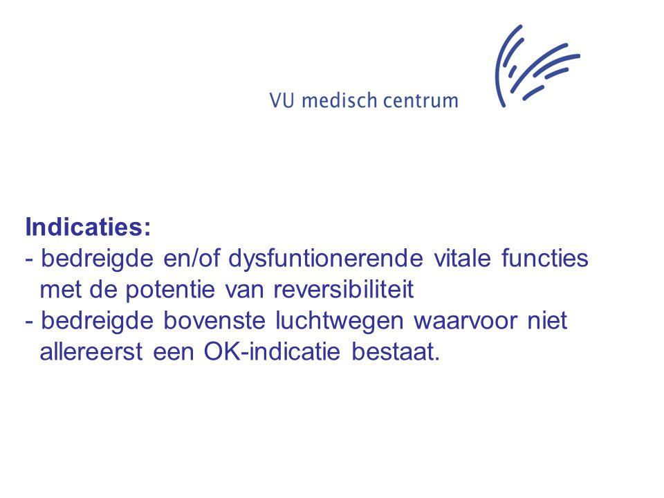 Indicaties: - bedreigde en/of dysfuntionerende vitale functies met de potentie van reversibiliteit - bedreigde bovenste luchtwegen waarvoor niet aller