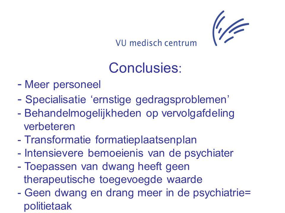 Conclusies : - Meer personeel - Specialisatie 'ernstige gedragsproblemen' - Behandelmogelijkheden op vervolgafdeling verbeteren - Transformatie format