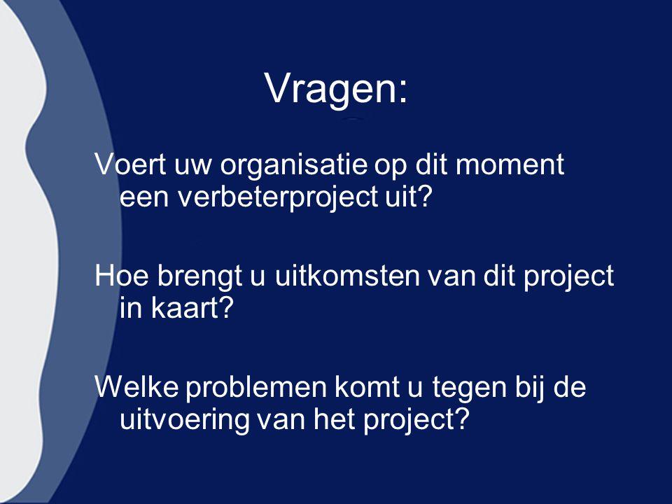 Vragen: Voert uw organisatie op dit moment een verbeterproject uit? Hoe brengt u uitkomsten van dit project in kaart? Welke problemen komt u tegen bij
