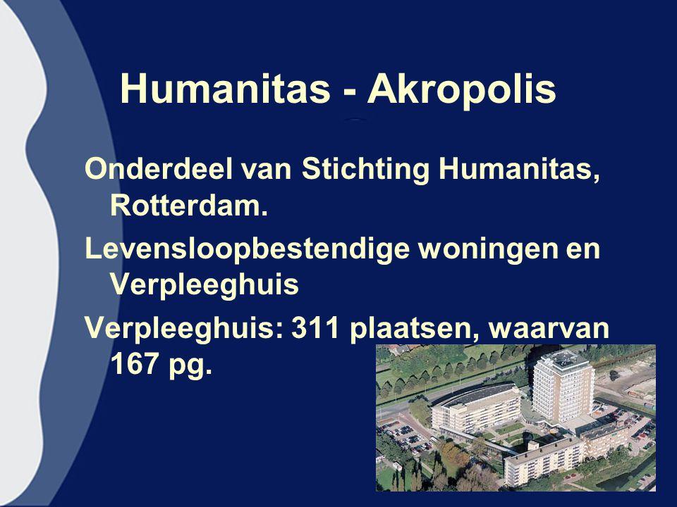 Humanitas - Akropolis Onderdeel van Stichting Humanitas, Rotterdam. Levensloopbestendige woningen en Verpleeghuis Verpleeghuis: 311 plaatsen, waarvan