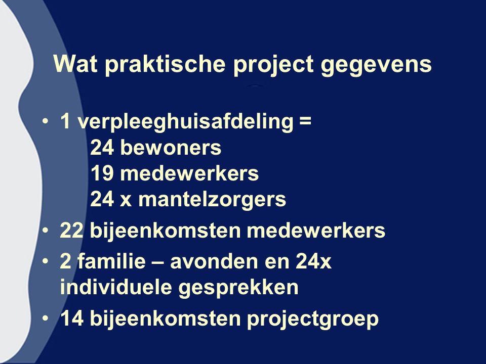 Wat praktische project gegevens 1 verpleeghuisafdeling = 24 bewoners 19 medewerkers 24 x mantelzorgers 22 bijeenkomsten medewerkers 2 familie – avonden en 24x individuele gesprekken 14 bijeenkomsten projectgroep