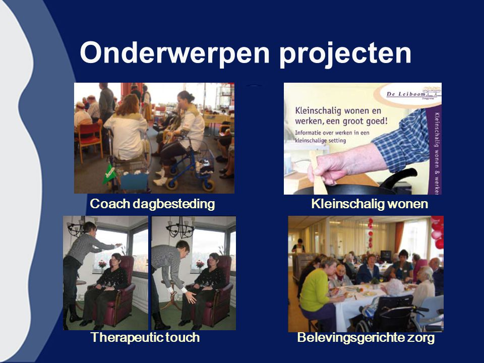 Onderwerpen projecten Therapeutic touchBelevingsgerichte zorg Coach dagbestedingKleinschalig wonen