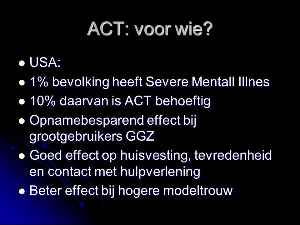 ACT: voor wie? USA: USA: 1% bevolking heeft Severe Mentall Illnes 1% bevolking heeft Severe Mentall Illnes 10% daarvan is ACT behoeftig 10% daarvan is