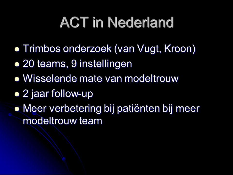 ACT in Nederland Trimbos onderzoek (van Vugt, Kroon) Trimbos onderzoek (van Vugt, Kroon) 20 teams, 9 instellingen 20 teams, 9 instellingen Wisselende