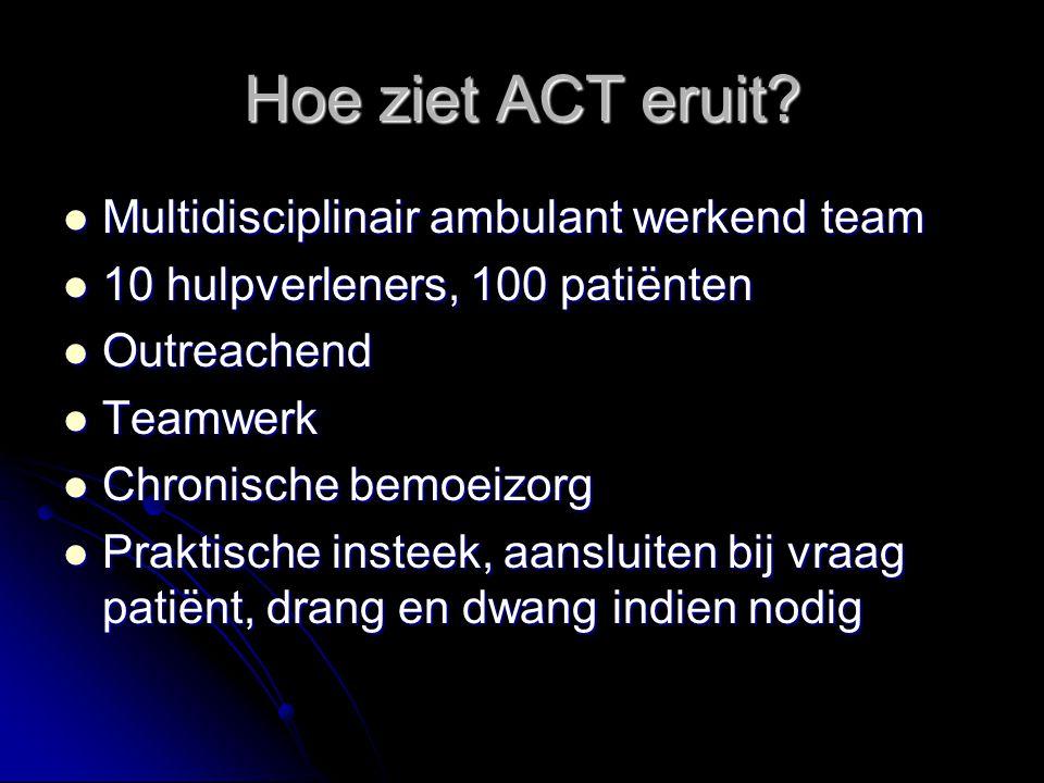 Hoe ziet ACT eruit? Multidisciplinair ambulant werkend team Multidisciplinair ambulant werkend team 10 hulpverleners, 100 patiënten 10 hulpverleners,