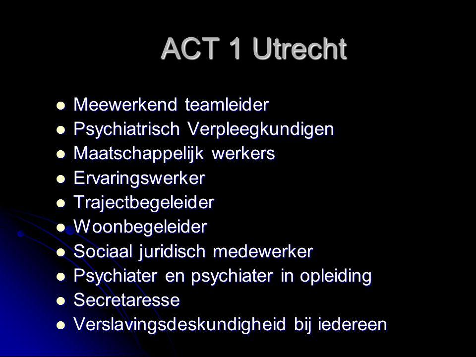 ACT 1 Utrecht Meewerkend teamleider Meewerkend teamleider Psychiatrisch Verpleegkundigen Psychiatrisch Verpleegkundigen Maatschappelijk werkers Maatschappelijk werkers Ervaringswerker Ervaringswerker Trajectbegeleider Trajectbegeleider Woonbegeleider Woonbegeleider Sociaal juridisch medewerker Sociaal juridisch medewerker Psychiater en psychiater in opleiding Psychiater en psychiater in opleiding Secretaresse Secretaresse Verslavingsdeskundigheid bij iedereen Verslavingsdeskundigheid bij iedereen