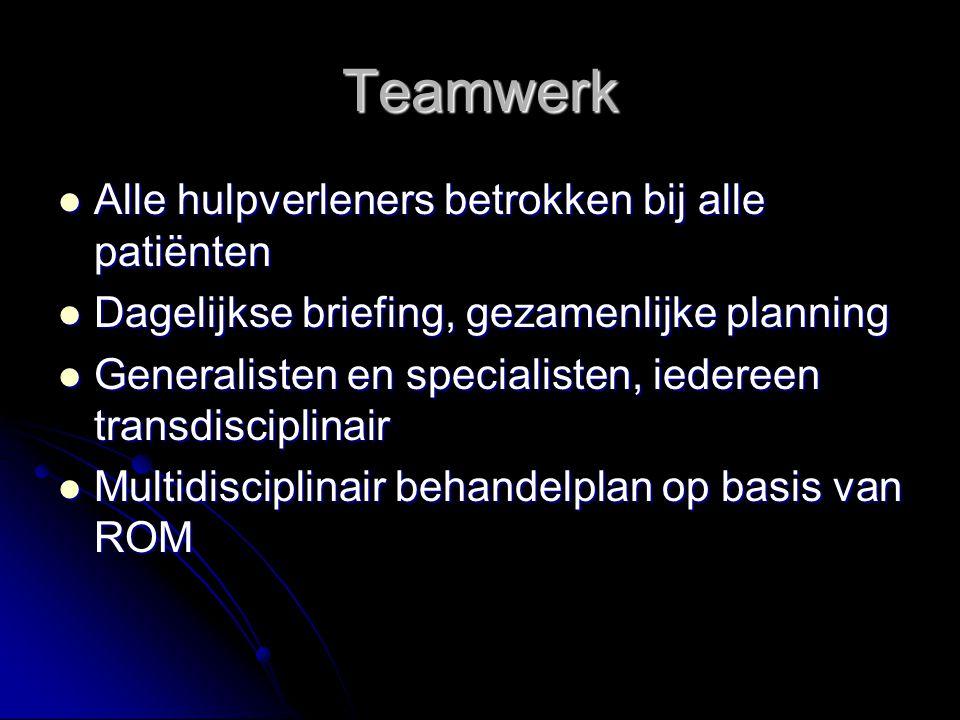 Teamwerk Alle hulpverleners betrokken bij alle patiënten Alle hulpverleners betrokken bij alle patiënten Dagelijkse briefing, gezamenlijke planning Da