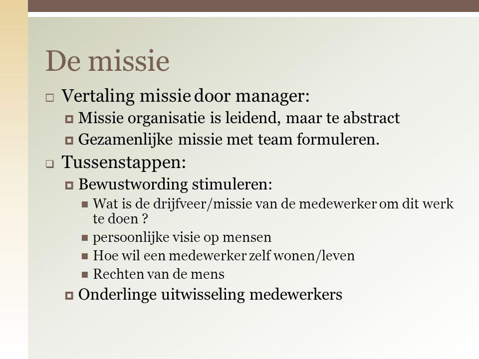  Vertaling missie door manager:  Missie organisatie is leidend, maar te abstract  Gezamenlijke missie met team formuleren.