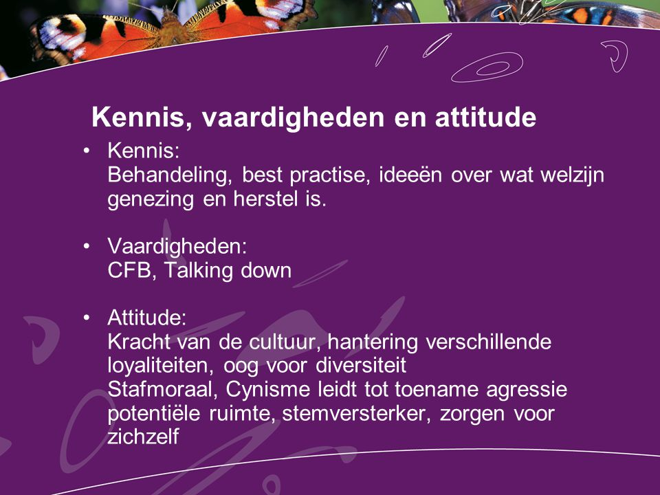 Kennis, vaardigheden en attitude Kennis: Behandeling, best practise, ideeën over wat welzijn genezing en herstel is. Vaardigheden: CFB, Talking down A