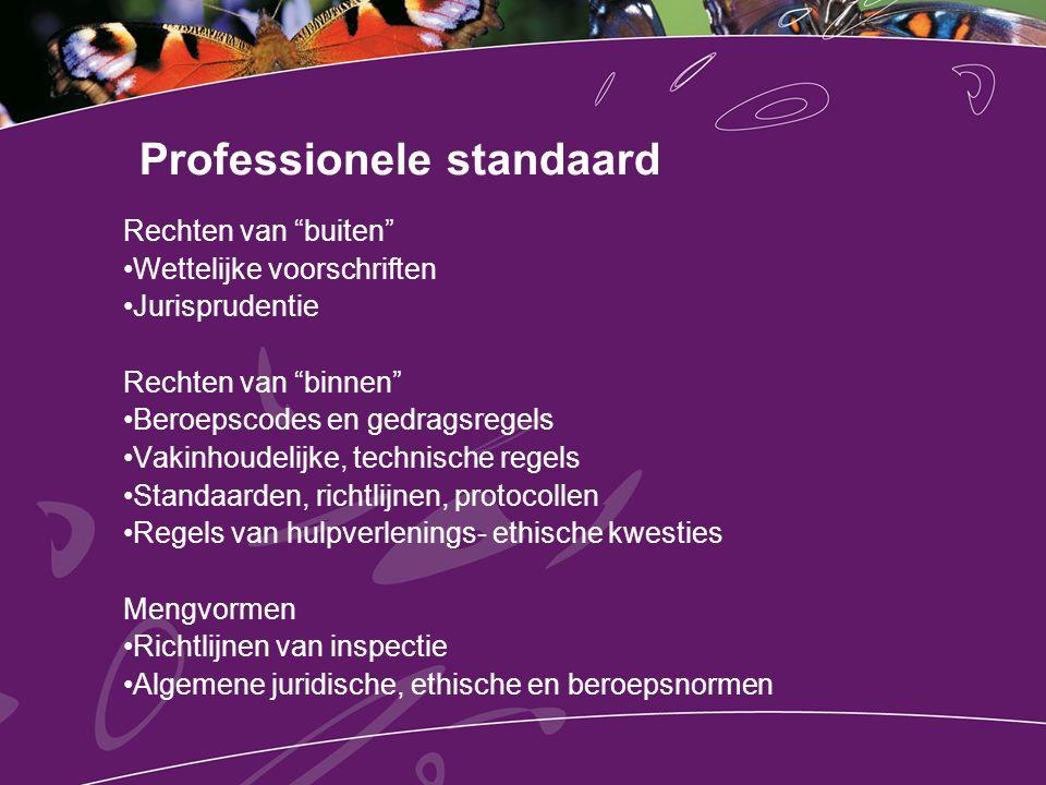 """Professionele standaard Rechten van """"buiten"""" Wettelijke voorschriften Jurisprudentie Rechten van """"binnen"""" Beroepscodes en gedragsregels Vakinhoudelijk"""