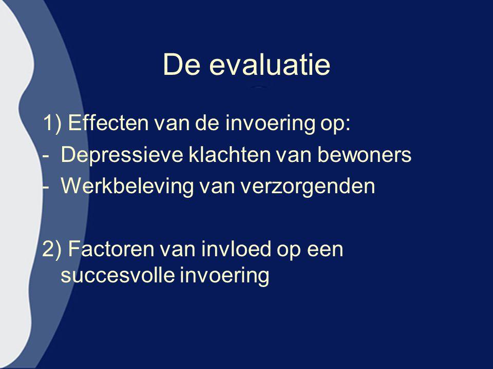 De evaluatie 1) Effecten van de invoering op: -Depressieve klachten van bewoners -Werkbeleving van verzorgenden 2) Factoren van invloed op een succesvolle invoering