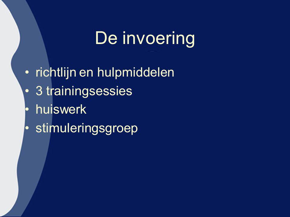 De invoering richtlijn en hulpmiddelen 3 trainingsessies huiswerk stimuleringsgroep