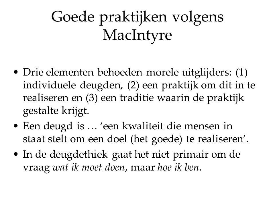 MacIntyre's deugdethiek Centraal staat niet het volgen van regels of het doen van de plicht, maar de deugdzaamheid van het karakter.
